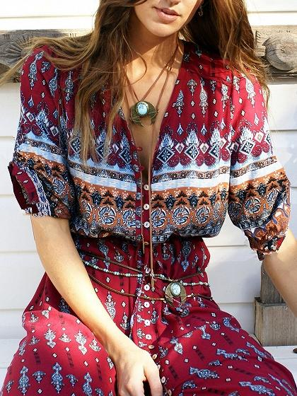 Burgundy Tribal Print Vintage V Neck Split Maxi Dress
