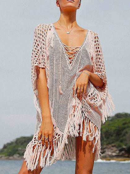 Pink Plunge Lace Up Front Fishnet Detail Tassel Trim Coverup