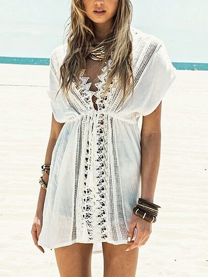 White Plunge Lace Panel Drawstring Waist Chic Women Beach Cover Up