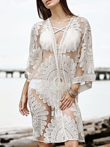 White Open Front Sheer Lace Coverup