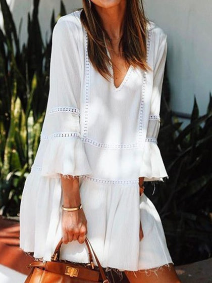 White Women Mini Dress V-neck Ruffle Hem Flare Sleeve