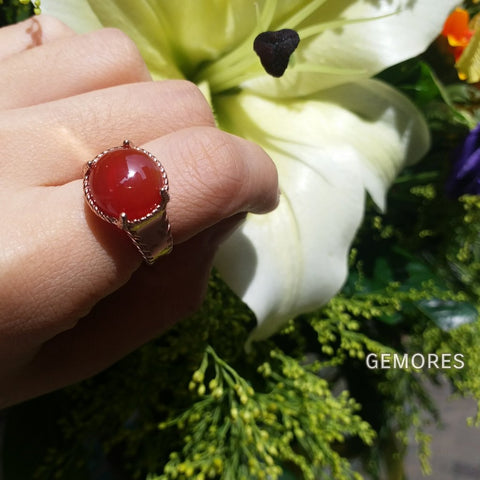 Vintage Imperial 18K rose gold silver ring set in Carnelian