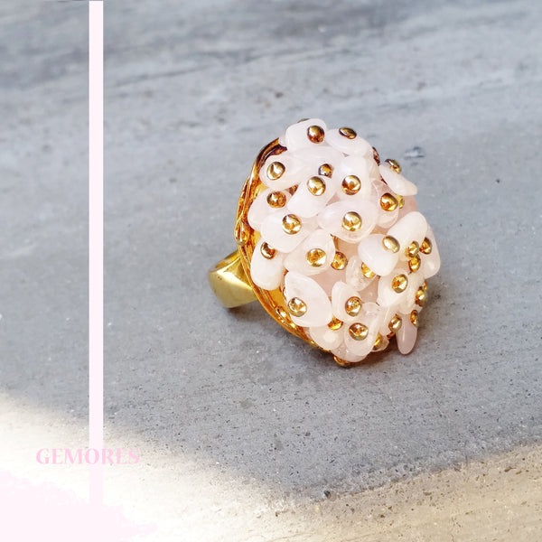 Raw Gems pink morganite cocktail ring in 18K gold