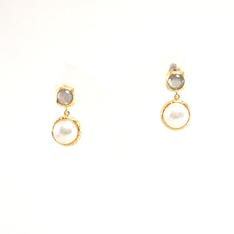 Vintage Imperial lustrous pearl bezel with sparkling faceted labradorite earrings