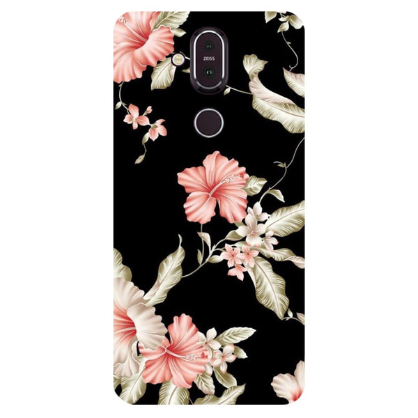 Black Flowers Nokia 8.1 Back Cover-Hamee India