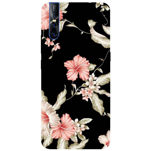 Black Flowers Vivo V15 Pro Back Cover-Hamee India