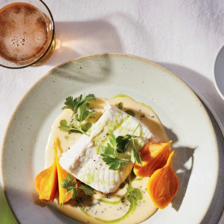 Wine Enthusiast: Poached Halibut in Caviar Beurre Blanc Recipe