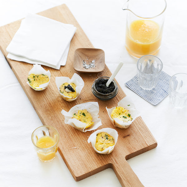 Mini Herb Frittatas Topped with Caviar
