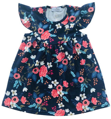 Navy Floral Flutter Dress
