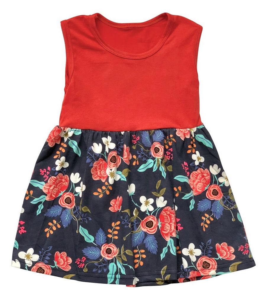 Coral/Navy Floral Tank Dress