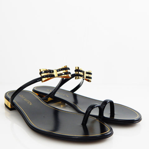 Louis Vuitton Gold/black Bow Sandals