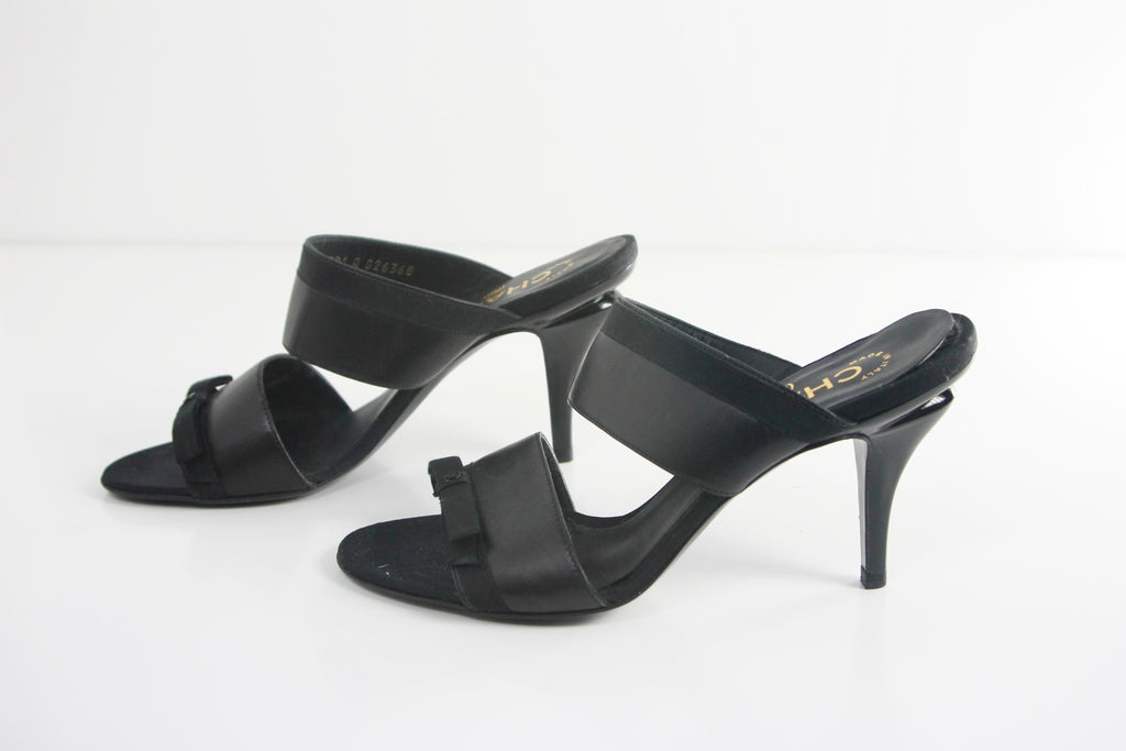 Chanel Leather Strap Black Mules With Front Bow