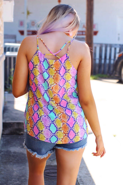 Treasure Island Multicolor Snake Strappy Top