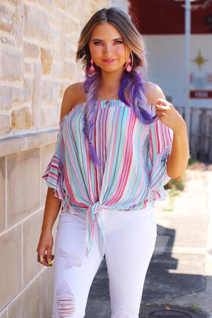 Watercolor Sunset Multi Stripe Ruffle Sleeve Tie Front Top