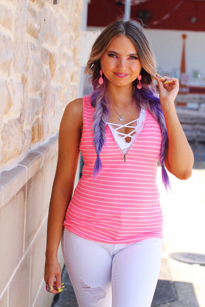 Coast To Coast Neon Pink Striped Zipper Detail Ribbed Tank Top