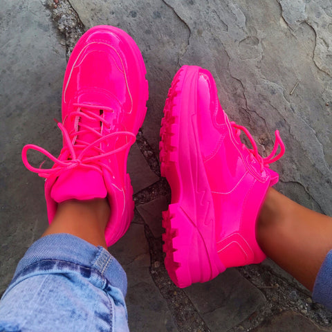 Vibrant Love Neon Pink Dad Sneakers