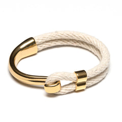 Nautical Ivory Rope Gold Half Hook Clasp Bracelet