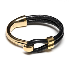 Black Leather Gold Half Hook Clasp Bracelet