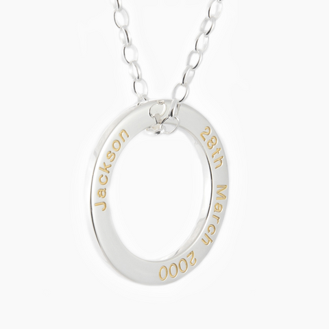 Solid sterling silver Darling necklace set with gold fill engraving