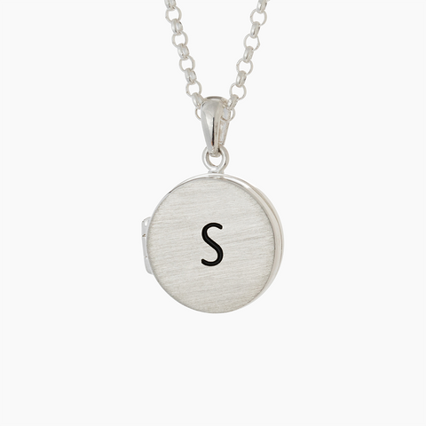 Sterling silver engraved locket and belcher chain