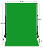 3m W x 4.5m H Chroma Key Green Photography Muslin Backdrop with Backdrop Stand