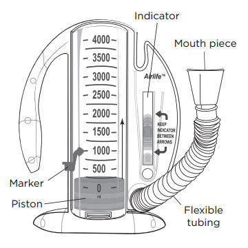 AirLife CareFusion Incentive Spirometer 4000mL w/1-Way Valve