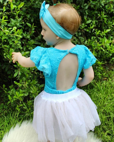 Turquoise Lace Open Back Flutter