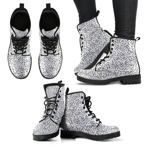 Music Notes Design Shoes. Womens Lether Boots