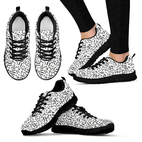 Womens Music Notes Sneakers Black Heel Shoes.