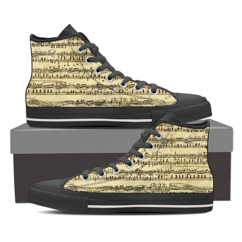 Image of Sheet Music Design Shoes. Mens High Top Canvas