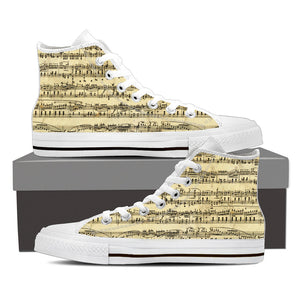 Sheet Music Design Shoes. Mens High Top Canvas