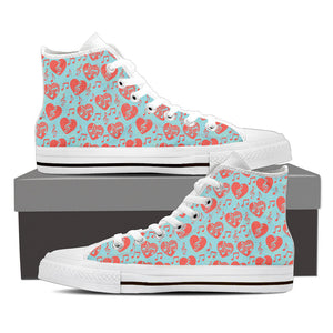 Womens Music Heart Desegon High Top Canvas Shoes