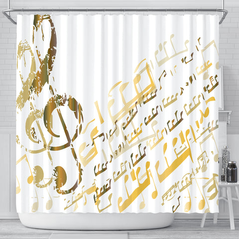 Golden Music Notes Shower Curtain