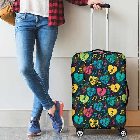 Music Notes Hearts Luggage Cover