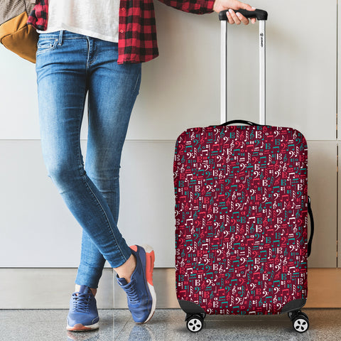 Red music notes luggage cover