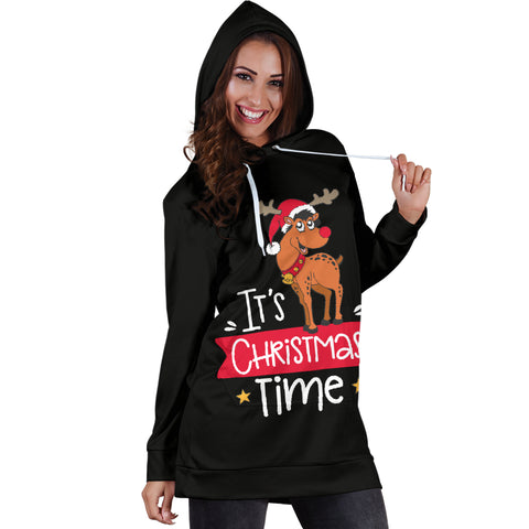 Image of Women's Hoodie Dress - Christmas It´s Christmas Time