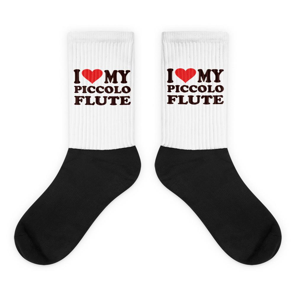 I Love My Piccolo Flute, Black foot socks