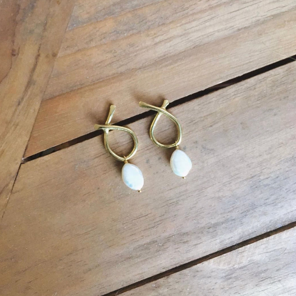 Odyssey Earrings with Baroque Pearls