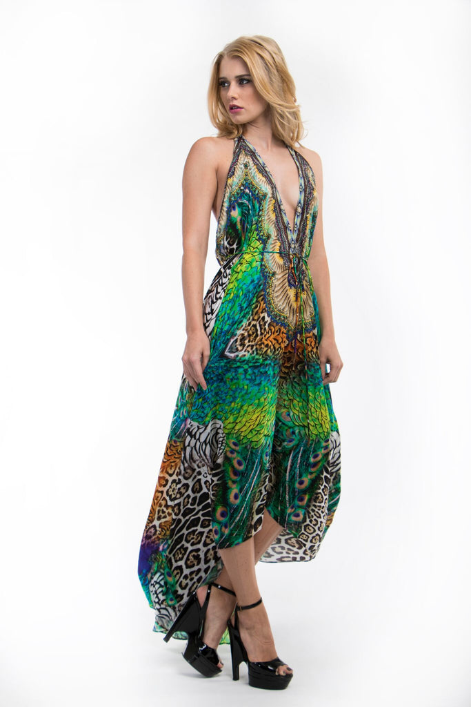 3 Way Peacock Jaguar Parides Maxi Dress