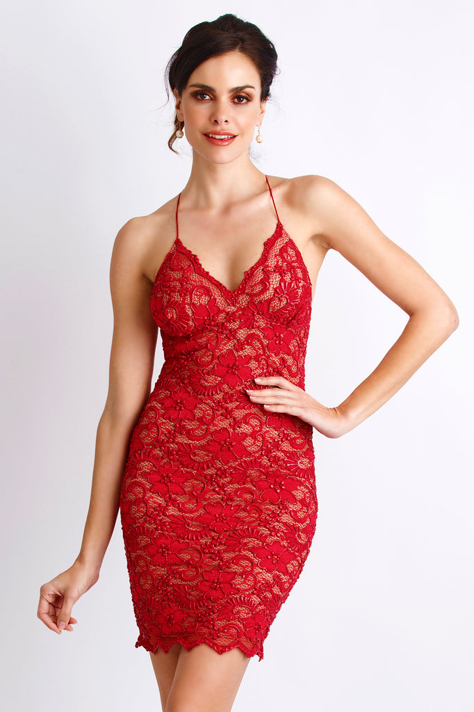 Magda Painted Caviar Red Baccio Couture Dress