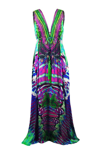 Green Cold Shoulder Hi Low Shahida Parides Dress
