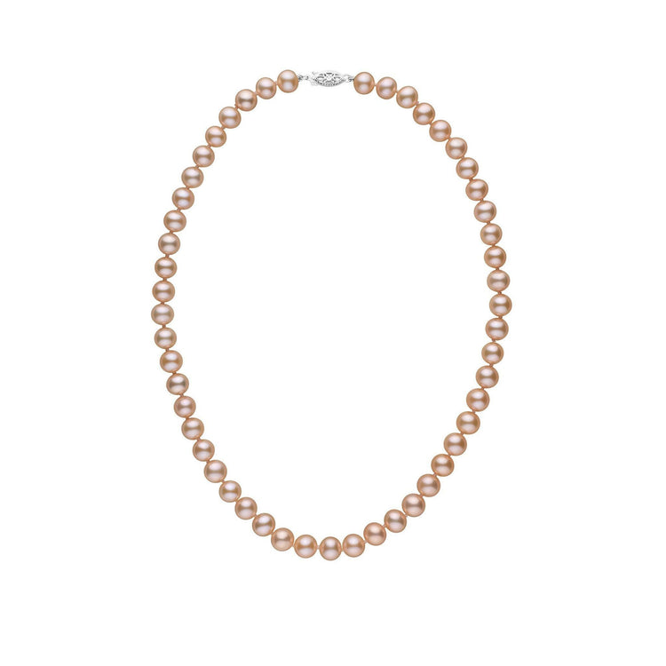 7.5-8.0 mm 16 Inch AAA Pink to Peach Freshwater Pearl Necklace