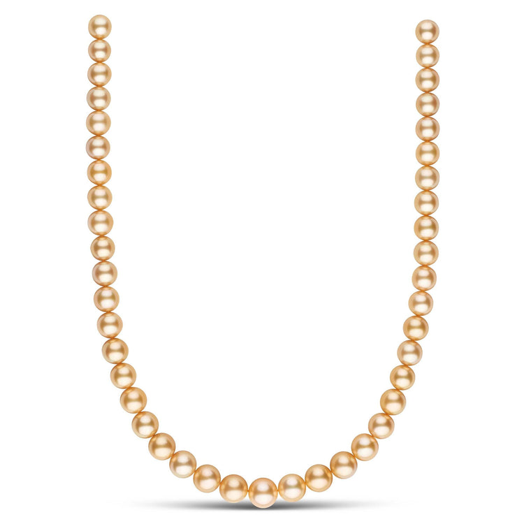 8.8-11.2 mm AA+/AAA Round Golden South Sea Pearl Necklace