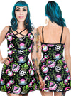 "Women's ""Tropical Dreams"" Skater Dress by Too Fast (Black)"