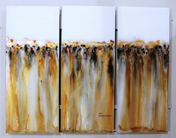 Large Abstract Art on Glass - River Gold