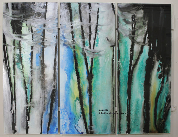 Large Abstract Art on Glass - Forest