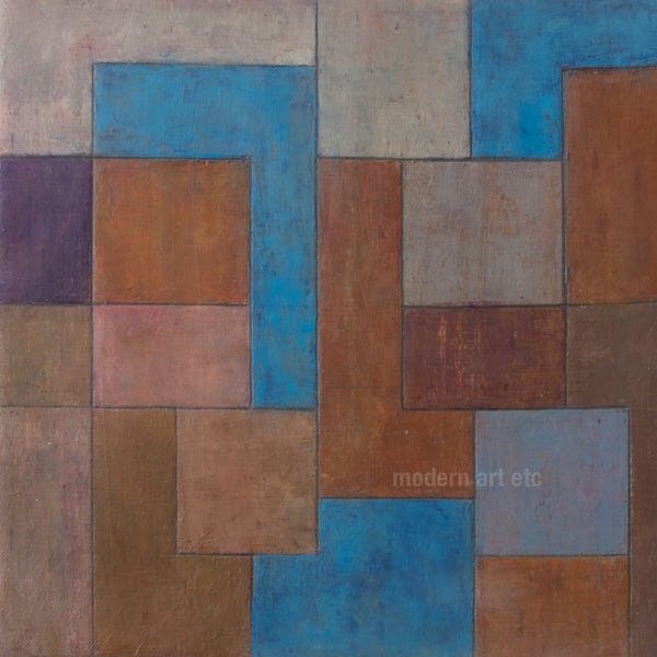 Abstract oil painting - Architectural forms - 13 x 13 x 1.75in.  Stephen Cimini