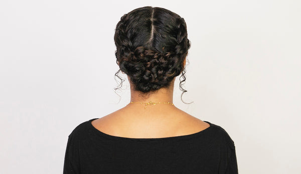 A French Braided Bun for Curly and Coarse Hair Types