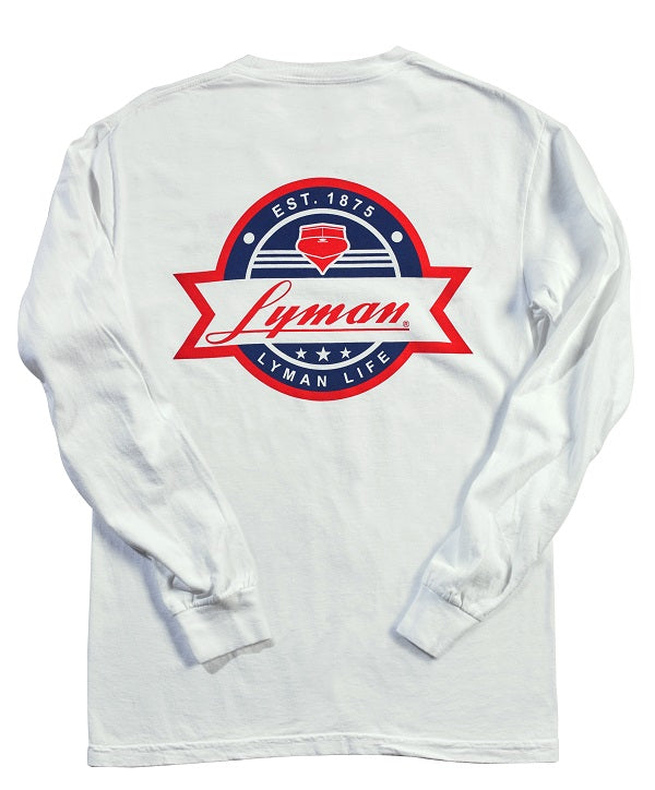 Long-Sleeved Lyman: White with Multi Color Patch