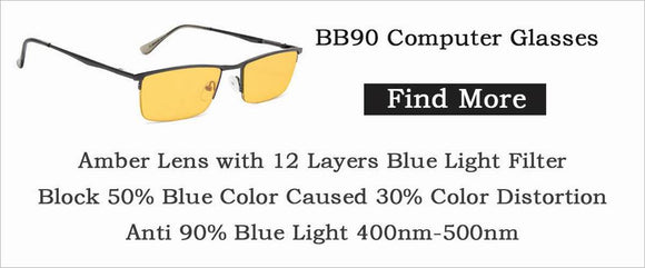 BB90 computer glasses,blue light blocking glasses,amber tinted computer reading glasses